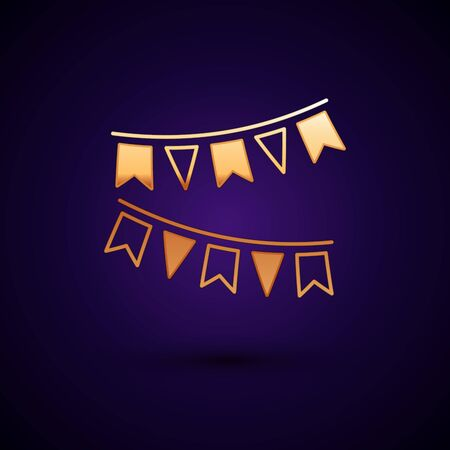 Gold Carnival garland with flags icon isolated on dark blue background. Party pennants for birthday celebration, festival and fair decoration. Vector Illustration