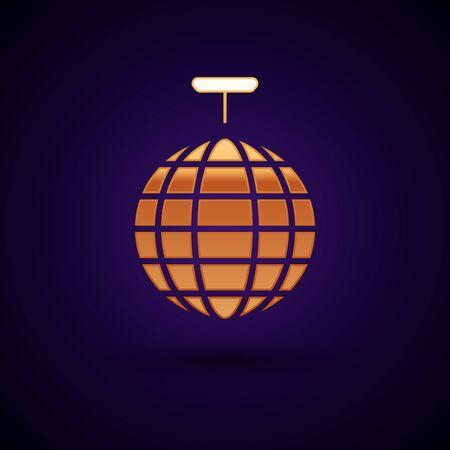 Gold Disco ball icon isolated on dark blue background. Vector Illustration Ilustração