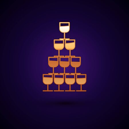 Gold Wine glasses stacked in a pyramid tower icon isolated on dark blue background. Wineglass sign. Vector Illustration