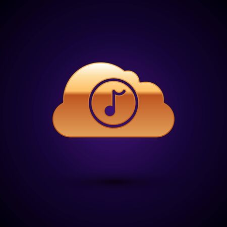 Gold Music streaming service icon isolated on dark blue background. Sound cloud computing, online media streaming, online song, audio wave. Vector Illustration Ilustração