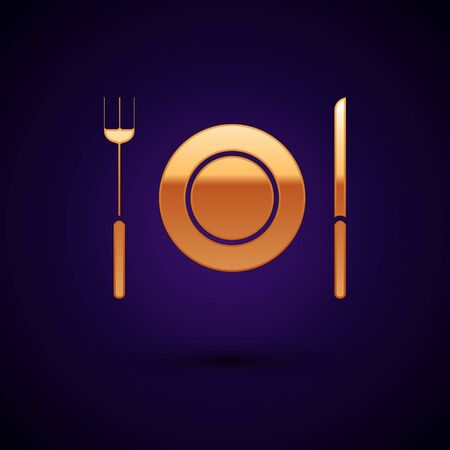Gold Plate, fork and knife icon isolated on dark blue background. Cutlery symbol. Restaurant sign. Vector Illustration