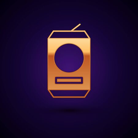 Gold Beer can icon isolated on dark blue background. Vector Illustration