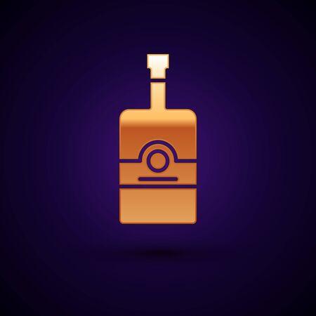 Gold Whiskey bottle icon isolated on dark blue background. Vector Illustration