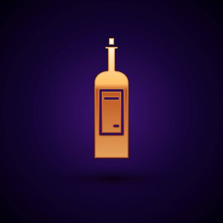 Gold Bottle of wine icon isolated on dark blue background. Vector Illustration
