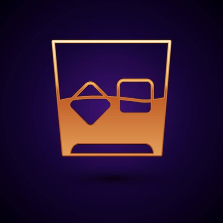Gold Glass of whiskey and ice cubes icon isolated on dark blue background. Vector Illustration