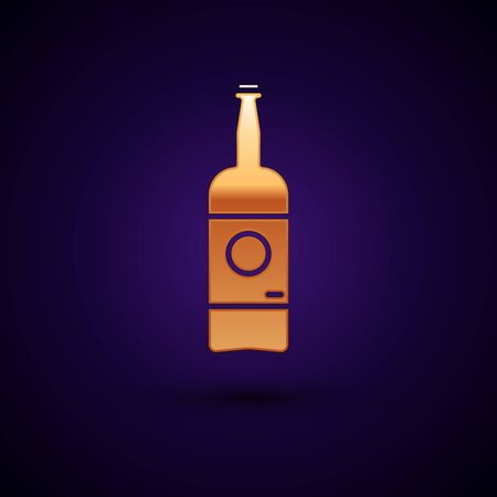 Gold Beer bottle icon isolated on dark blue background. Vector Illustration