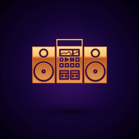Gold Home stereo with two speakers icon isolated on dark blue background. Music system. Vector Illustration Ilustração