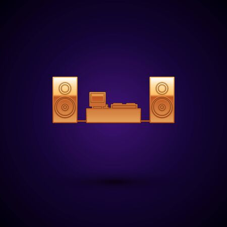 Gold Home stereo with two speaker s icon isolated on dark blue background. Music system. Vector Illustration Ilustração