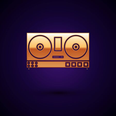 Gold DJ remote for playing and mixing music icon isolated on dark blue background. DJ mixer complete with vinyl player and remote control. Vector Illustration