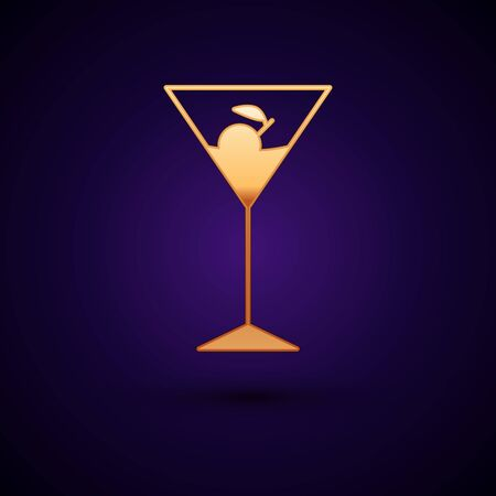 Gold Martini glass icon isolated on dark blue background. Cocktail icon. Wine glass icon. Vector Illustration Ilustração