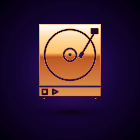 Gold Vinyl player with a vinyl disk icon isolated on dark blue background. Vector Illustration