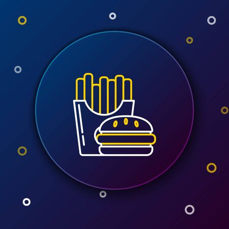 White and yellow line Burger and french fries in carton package box icon on dark blue background. Hamburger, cheeseburger sandwich. Fast food menu. Colorful outline concept. Vector Illustration