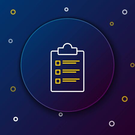 White and yellow line Clipboard with checklist icon isolated on dark blue background. Control list symbol. Survey poll or questionnaire feedback form. Colorful outline concept. Vector Illustration