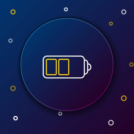 White and yellow line Battery charge level indicator icon isolated on dark blue background. Colorful outline concept. Vector Illustration