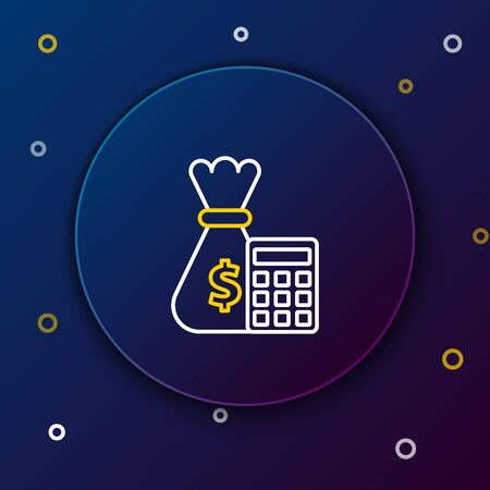White and yellow line Calculator with money bag icon on dark blue background. Accounting sign. Calculate finance symbol. Colorful outline concept. Vector Illustration