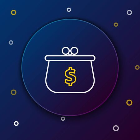 White and yellow line Wallet with with dollar symbol icon on dark blue background. Purse icon. Cash savings symbol. Colorful outline concept. Vector Illustration