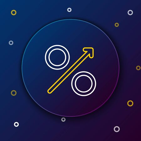 White and yellow line Percent up arrow icon on dark blue background. Increasing percentage sign. Colorful outline concept. Vector Illustration