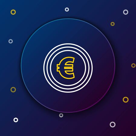White and yellow line Coin money with euro symbol icon on dark blue background. Banking currency sign. Cash symbol. Colorful outline concept. Vector Illustration