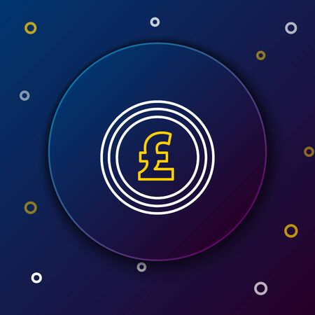 White and yellow line Coin money with pound sterling symbol icon on dark blue background. Banking currency sign. Cash symbol. Colorful outline concept. Vector Illustration