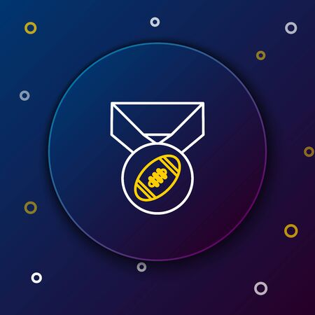 White and yellow line American Football ball with medal icon isolated on dark blue background. Colorful outline concept. Vector Illustration