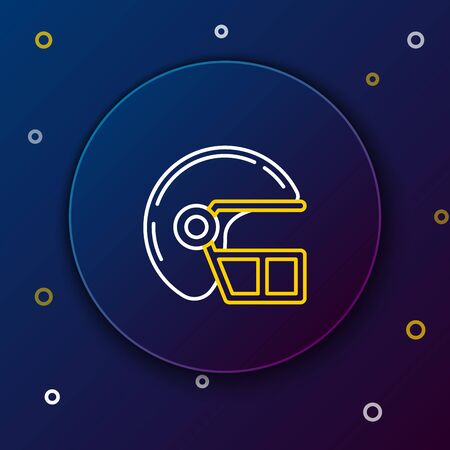 White and yellow line American football helmet icon isolated on dark blue background. Colorful outline concept. Vector Illustration