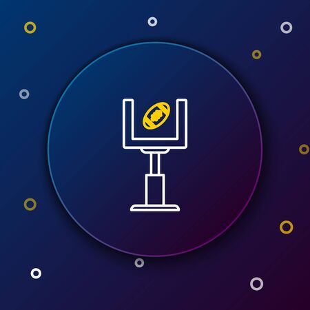 White and yellow line American football goal post and football ball icon isolated on dark blue background. Colorful outline concept. Vector Illustration