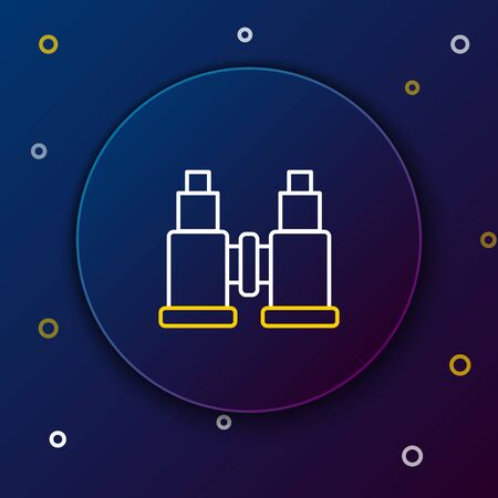White and yellow line Binoculars icon isolated on dark blue background. Find software sign. Spy equipment symbol. Colorful outline concept. Vector Illustration