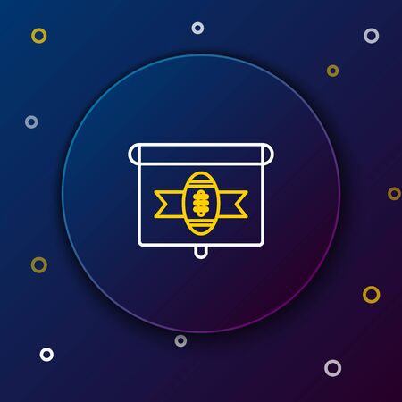 White and yellow line American football on tv program icon isolated on dark blue background. Colorful outline concept. Vector Illustration Illustration