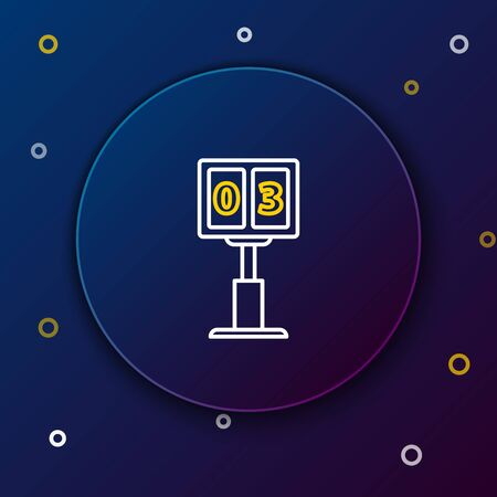 White and yellow line Sport football mechanical scoreboard and result display icon isolated on dark blue background. Colorful outline concept. Vector Illustration Illustration