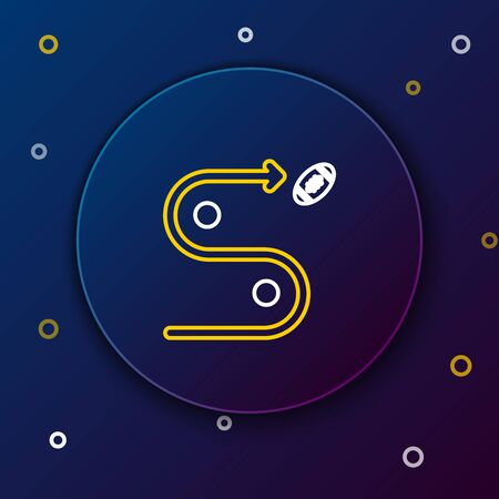 White and yellow line Planning strategy concept icon isolated on dark blue background. Soccer or american football cup formation and tactic. Colorful outline concept. Vector Illustration