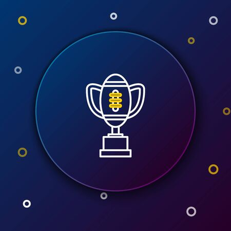 White and yellow line Award cup and American football ball icon on dark blue background. Winner trophy symbol. Championship or competition trophy. Colorful outline concept. Vector Illustration
