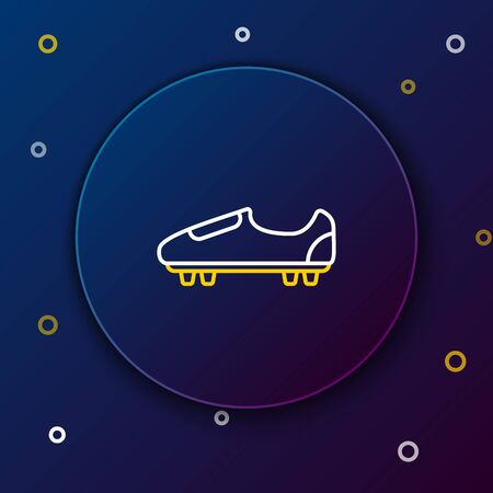 White and yellow line Soccer or football shoes with spikes icon isolated on dark blue background. American football boot. Colorful outline concept. Vector Illustration