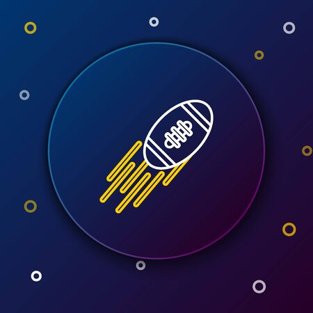 White and yellow line American Football ball icon isolated on dark blue background. Rugby ball icon. Team sport game symbol. Colorful outline concept. Vector Illustration