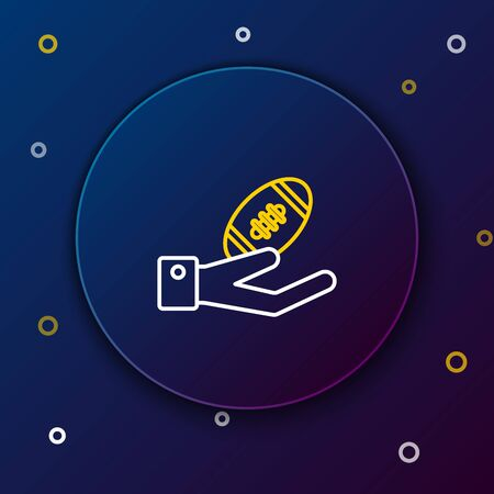 White and yellow line American Football ball on hand icon isolated on dark blue background. Rugby ball icon. Team sport game symbol. Colorful outline concept. Vector Illustration