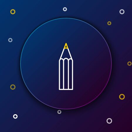 White and yellow line Pencil icon isolated on dark blue background. Education sign. Drawing and educational tools. School office symbol. Colorful outline concept. Vector Illustration
