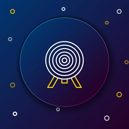 White and yellow line Target icon isolated on dark blue background. Dart board sign. Archery board icon. Dartboard sign. Business goal concept. Colorful outline concept. Vector Illustration