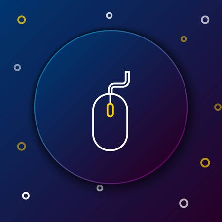 White and yellow line Computer mouse icon isolated on dark blue background. Optical with wheel symbol. Colorful outline concept. Vector Illustration