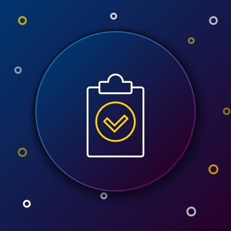 White and yellow line Completed task icon isolated on dark blue background. Compliance inspection approved. Checklist sign. Certified document symbol. Colorful outline concept. Vector Illustration Çizim