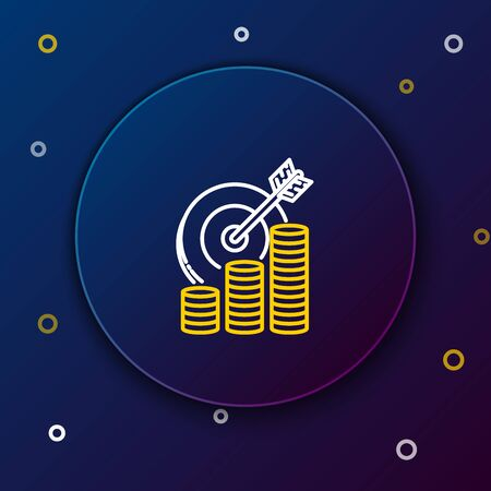 White and yellow line Target with coin symbol icon on dark blue background. Investment target icon. Successful business concept. Cash or Money sign. Colorful outline concept. Vector Illustration