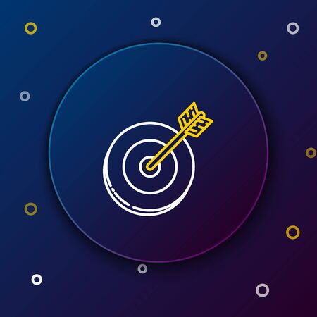 White and yellow line Target icon isolated on dark blue background. Investment target icon. Successful business concept. Cash or Money sign. Colorful outline concept. Vector Illustration Иллюстрация
