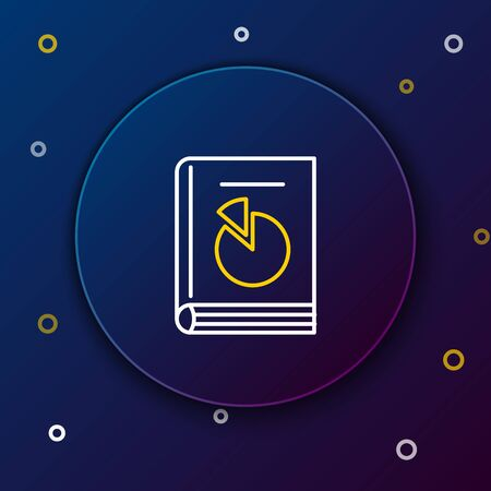 White and yellow line User manual icon isolated on dark blue background. User guide book. Instruction sign. Read before use. Colorful outline concept. Vector Illustration