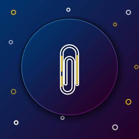 White and yellow line Paper clip icon isolated on dark blue background. Colorful outline concept. Vector Illustration 矢量图像