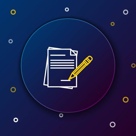 White and yellow line Blank notebook and pencil with eraser icon isolated on dark blue background. Paper and pencil. Colorful outline concept. Vector Illustration