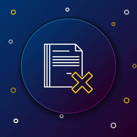 White and yellow line Delete file document icon isolated on dark blue background. Rejected document icon. Cross on paper. Colorful outline concept. Vector Illustration Çizim