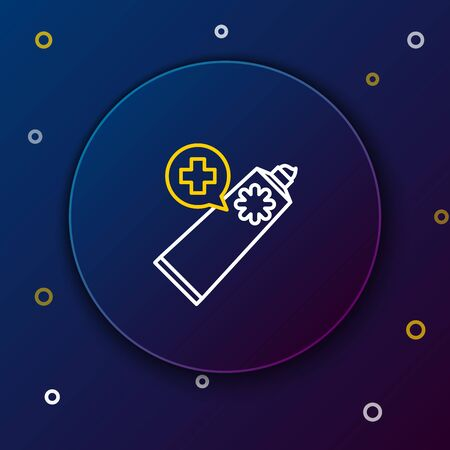 White and yellow line Ointment cream tube medicine icon isolated on dark blue background. Tube, container, toothpaste, cream sign. Colorful outline concept. Vector Illustration Ilustração