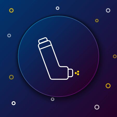 White and yellow line Inhaler icon on dark blue background. Breather for cough relief, inhalation, allergic patient. Medical allergy asthma inhaler spray. Colorful outline concept. Vector Illustration
