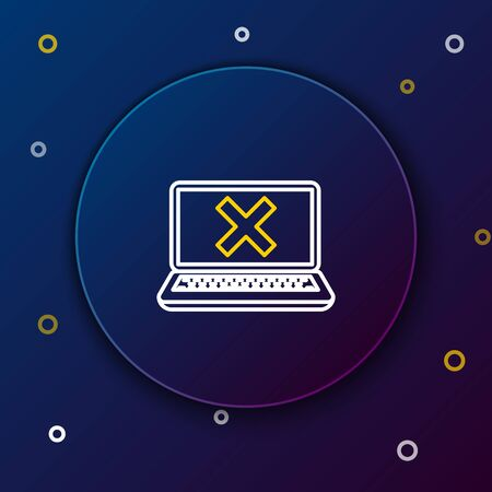 White and yellow line Laptop and cross mark on screen icon on dark blue background. Error window, exit button, cancel, 404 error page not found concept. Colorful outline concept. Vector Illustration 일러스트