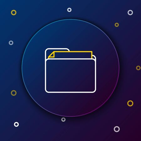 White and yellow line Document folder icon isolated on dark blue background. Accounting binder symbol. Bookkeeping management. Colorful outline concept. Vector Illustration
