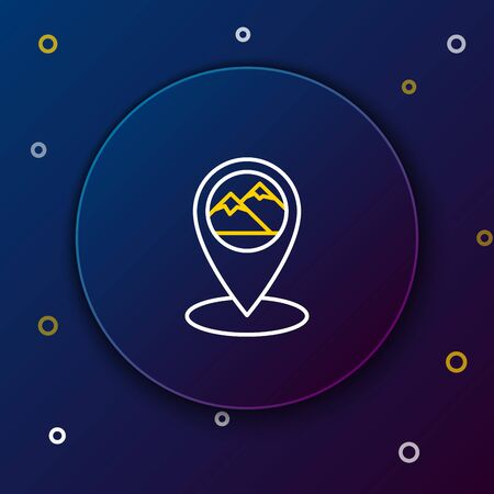White and yellow line Map pointer with mountain icon isolated on dark blue background. Mountains travel icon. Colorful outline concept. Vector Illustration