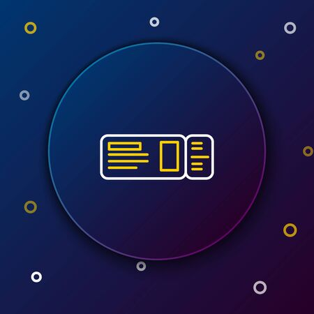 White and yellow line Travel ticket icon isolated on dark blue background. Train, ship, plane, tram, bus transport. Travel service concept. Colorful outline concept. Vector Illustration Illustration